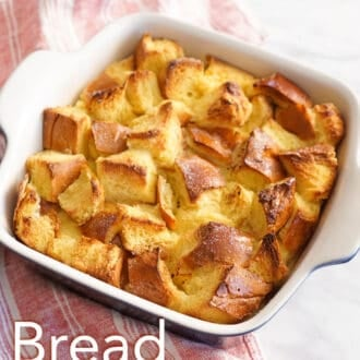 Bread pudding in a blue and white baking dish.