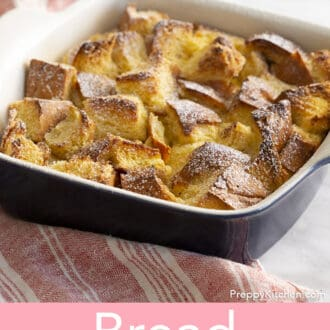 Bread pudding with powdered sugar sprinkled on top.
