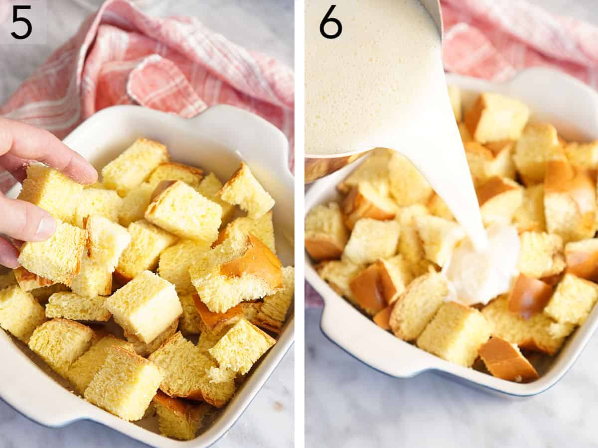 Custard pouring onto cubed of bread in a baking dish for bread pudding.