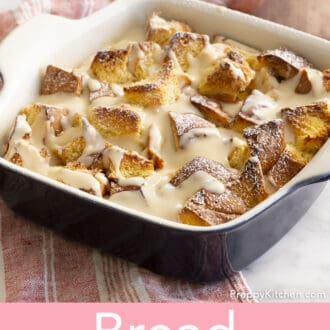 Bread pudding with brandy sauce.