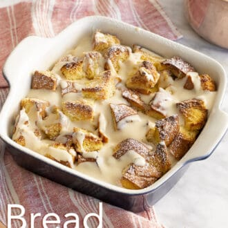 Bread pudding in a baking dish ready to be served.