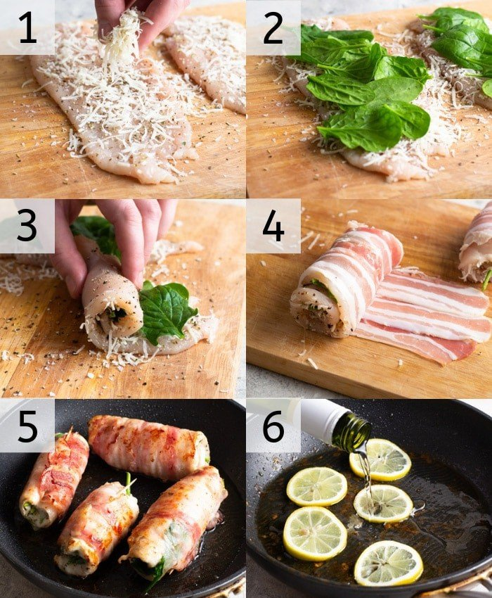 A photo grid showing the steops to make bacon-wrapped chicken breasts