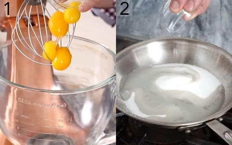 Two photos showing egg yolks being whipped and sugar mixing with water.