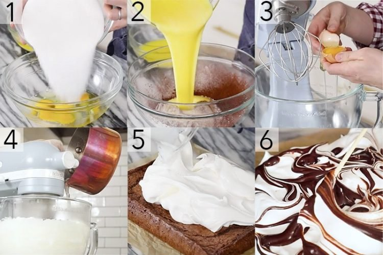 A photo showing steps on how to make a marshmallow brownie.