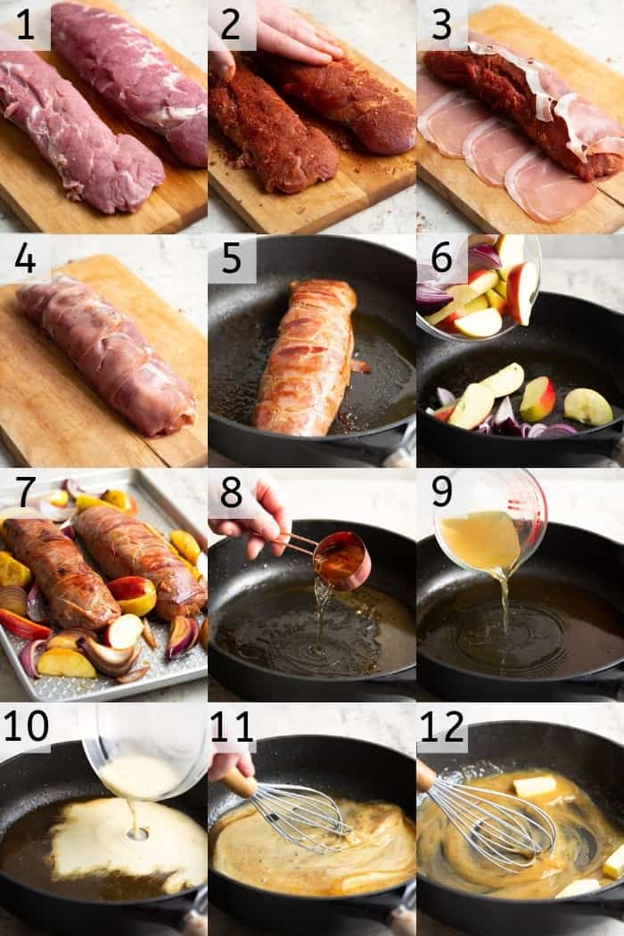 A photo grid showing the steps to make a bacon-wrapped pork tenderloin
