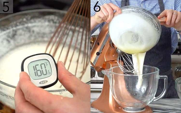 A thermometer at 160F and meringue pouring into a mixer.