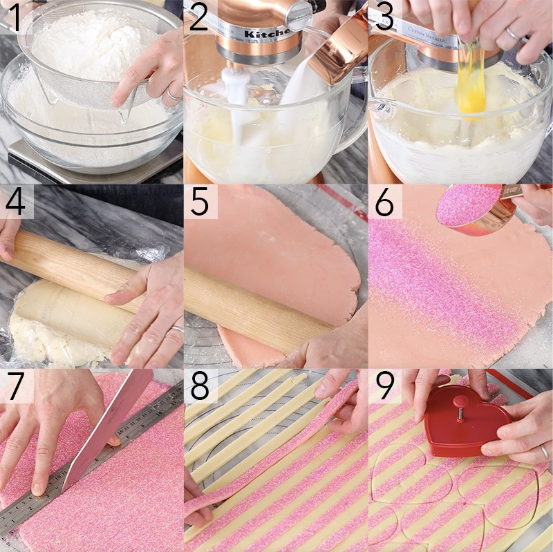 A photo showing steps on how to make Valentine's cookies.