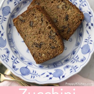Piece of zucchini bread on plate