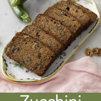 Pieces of zucchini bread on tray