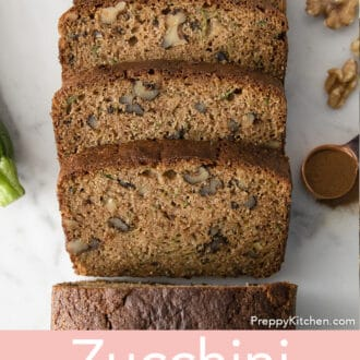 Pieces of zucchini bread on counter
