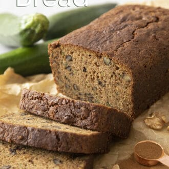 Pieces of zucchini bread on brown paper