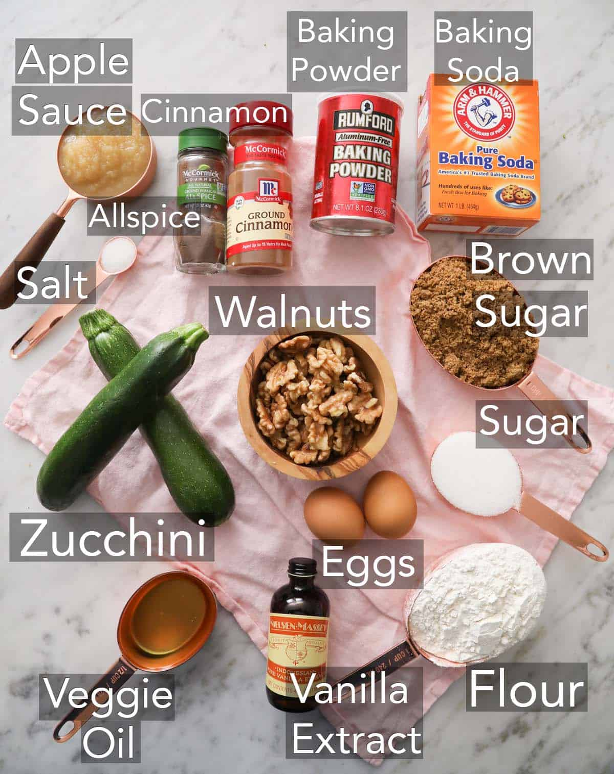 Ingredients for making zucchini bread on a counter.