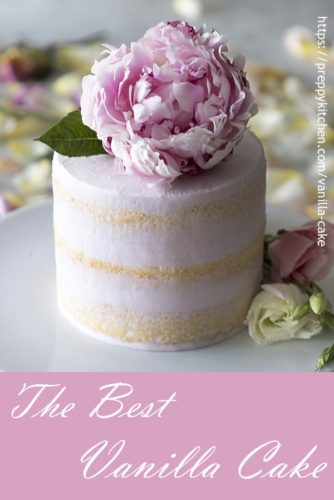 A pinterest photo showing a soft pink layer cake topped by a peony.