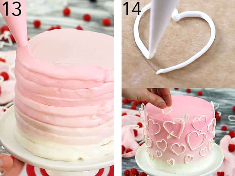 A valentine heart cake getting decorated with a pink ombre and candy melt hearts.