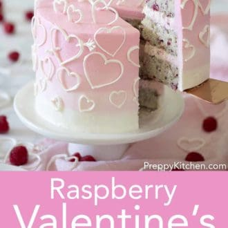 valentines day raspberry cake with white hearts