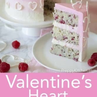 valentines day cake with white hearts