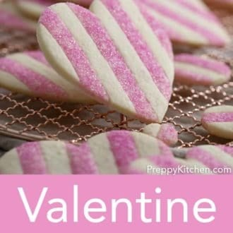 striped heart valentines day sugar cookies