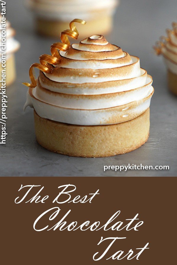 A pinterest pin of the chocolate tart