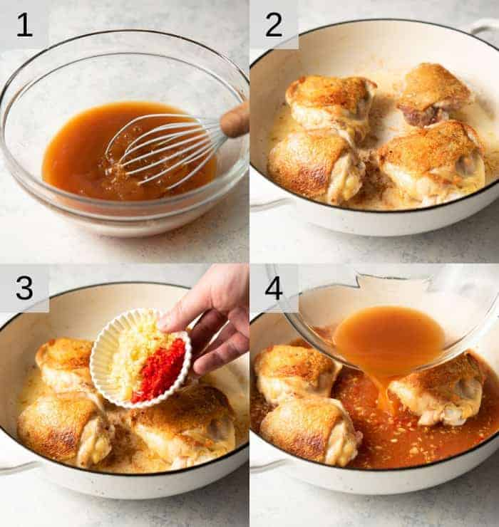 Step by step photos for making orange chicken