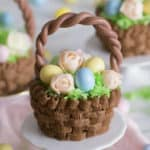 Chocolate Easter basket cupcakes filled with candy eggs and flowers