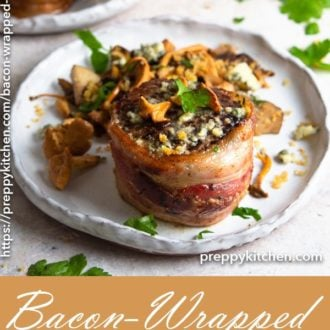 A clipping of bacon-wrapped filet mignon topped with a blue cheese crunch butter and served with mushrooms.