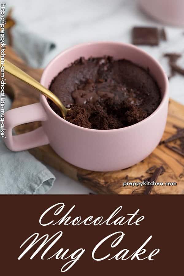 A clipping of a freshly made chocolate mug cake.