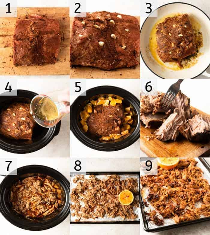 Step by step photos for making slow cooker pork carnitas