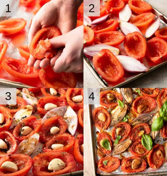 Step by step photos for making oven roasted tomatoes
