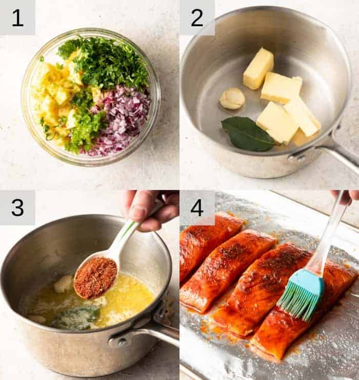 Step by step photos for making blackened salmon with pineapple salsa