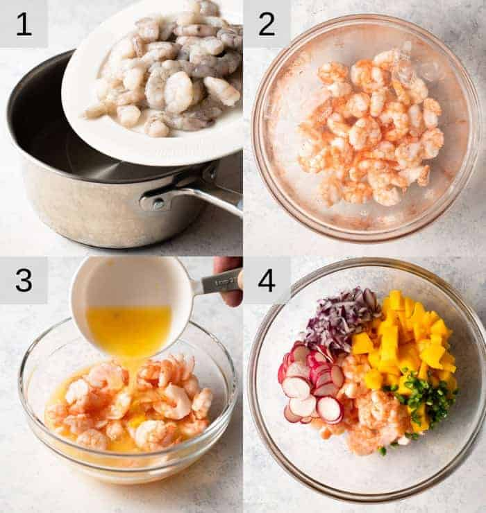 Step by step photos for making shrimp ceviche