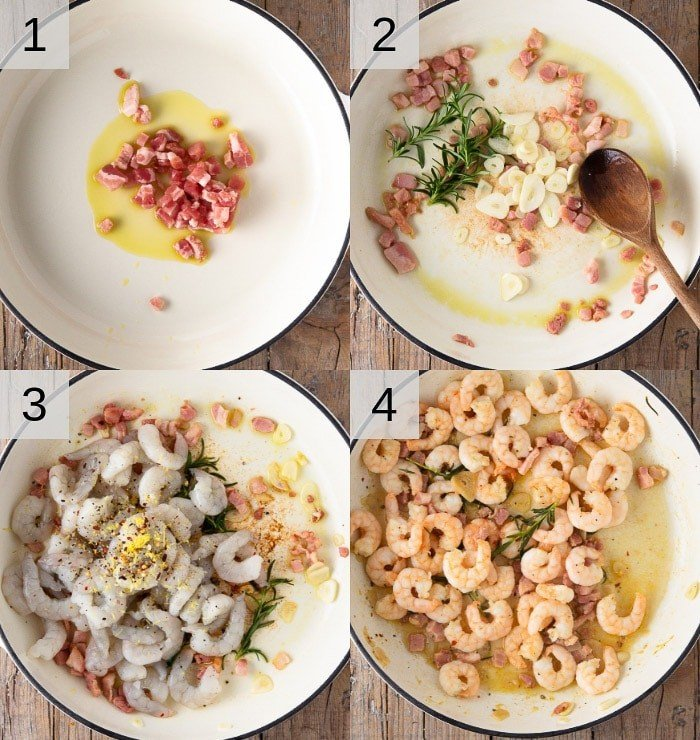 A photo showing steps on how to make shrimp and pancetta.