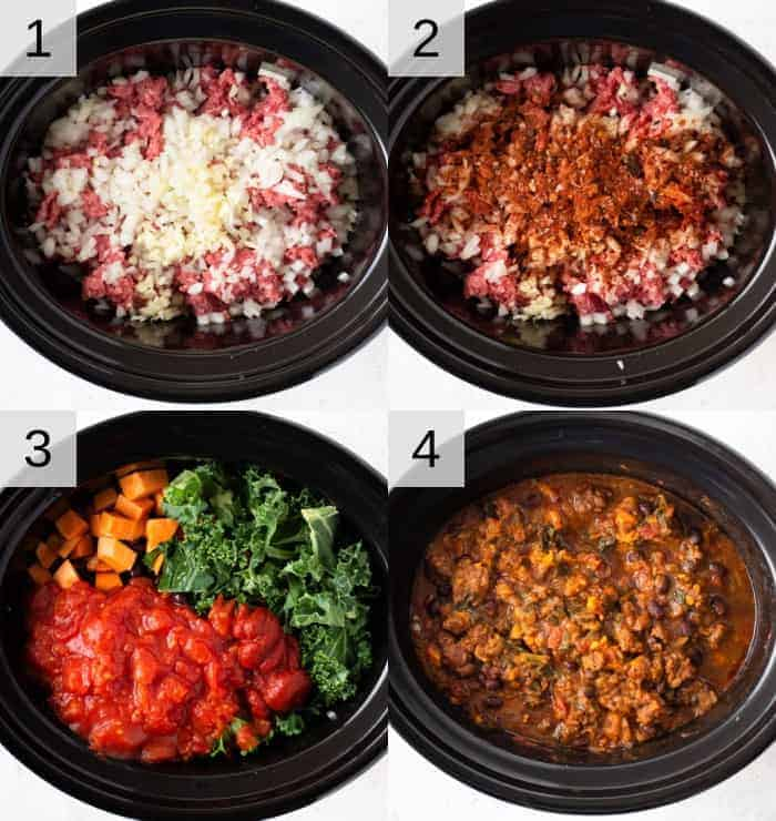 Step by step photos for making a slow cooker chili