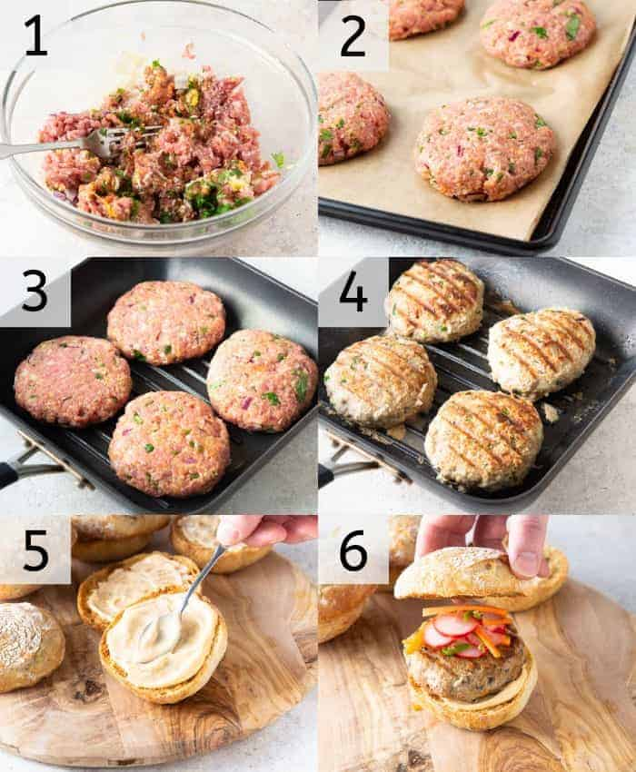 A photo showing steps on how to make Thai turkey burgers.