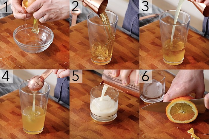 A photo showing steps on how to make a whiskey sour.