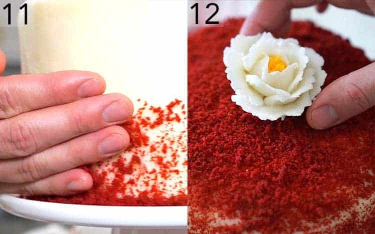 Buttercream flowers getting placed onto a red velvet cake.