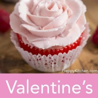valentines day pink rose cupcake