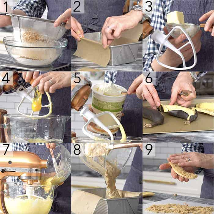 A photo showing steps on how to make banana bread.