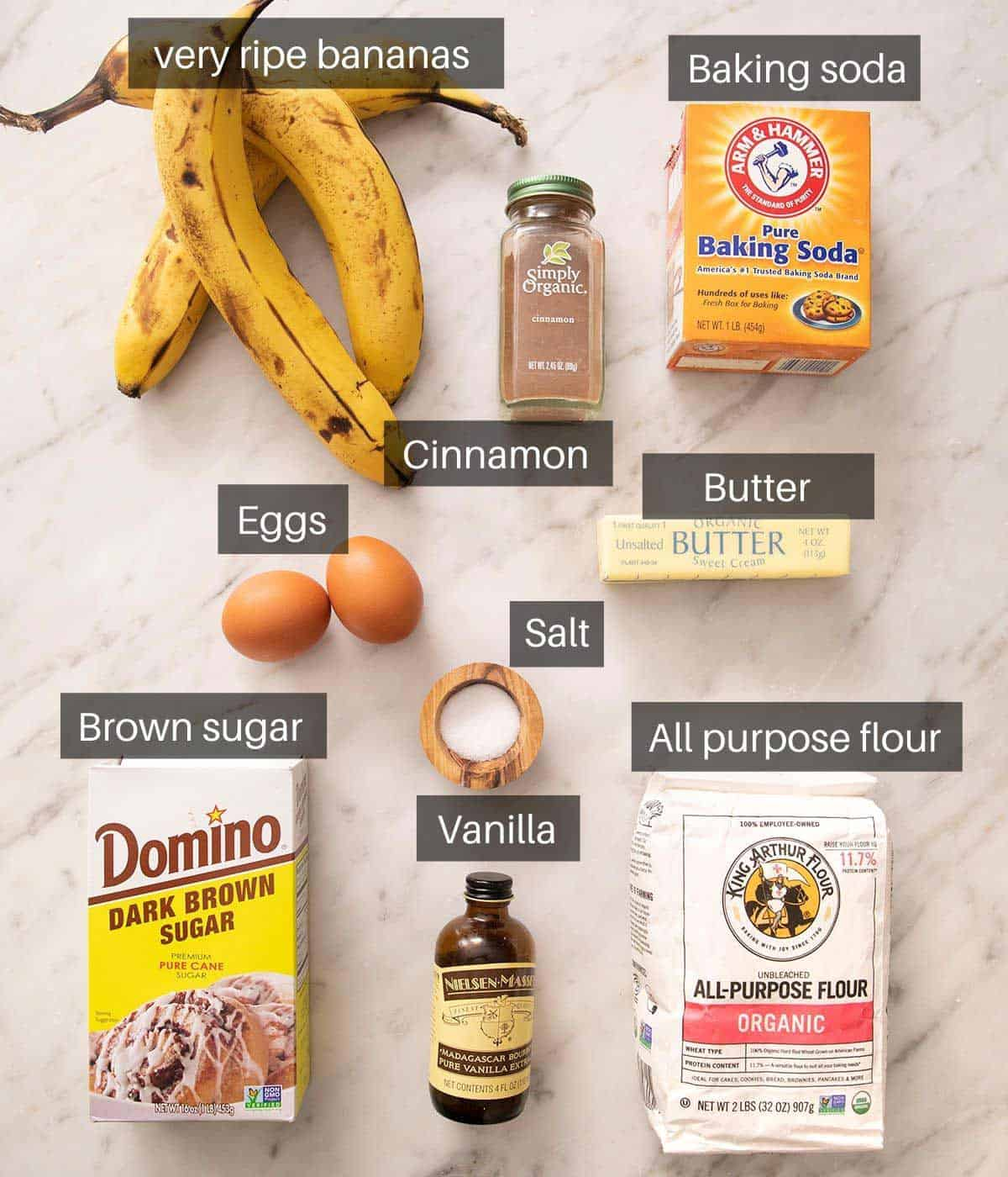An overhead shot of all the ingredients you need to make banana bread