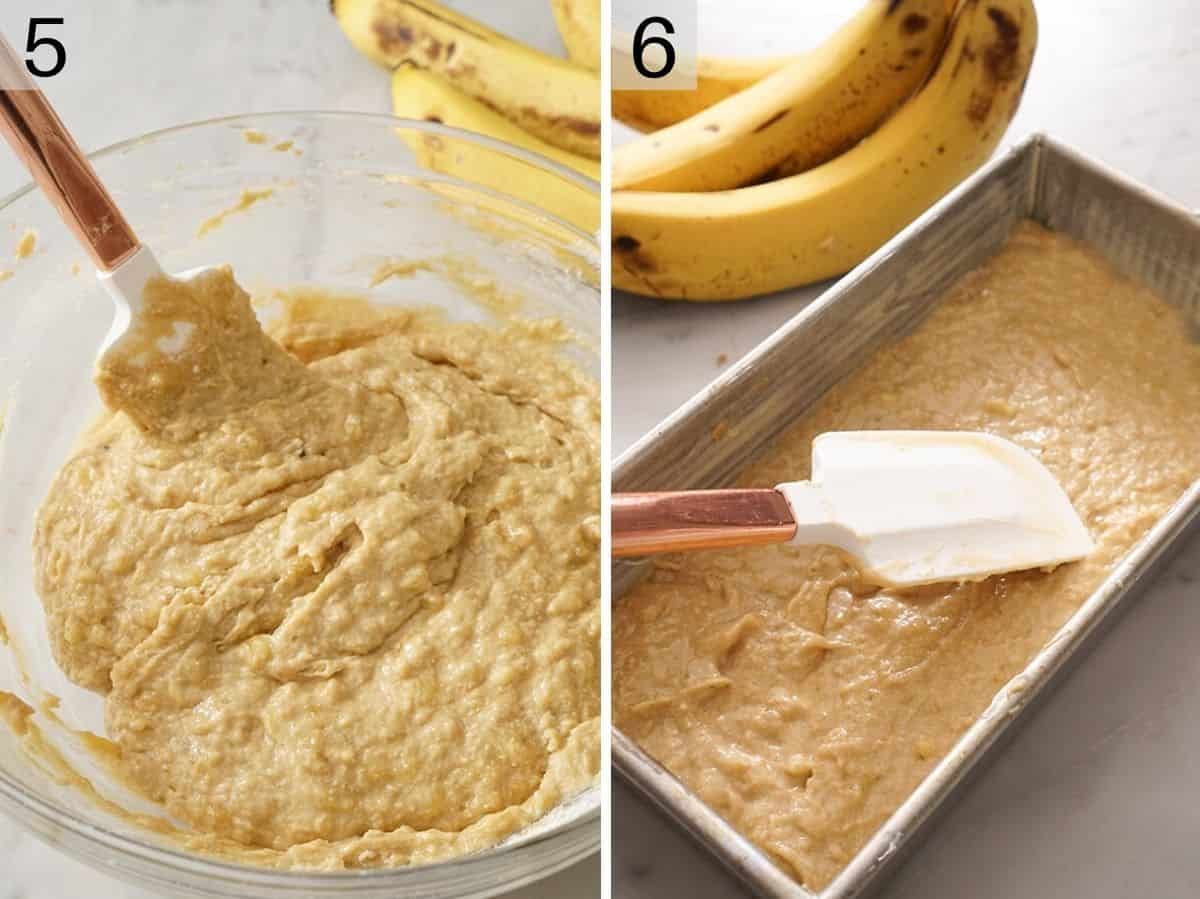 Banana bread batter getting added to a loaf pan