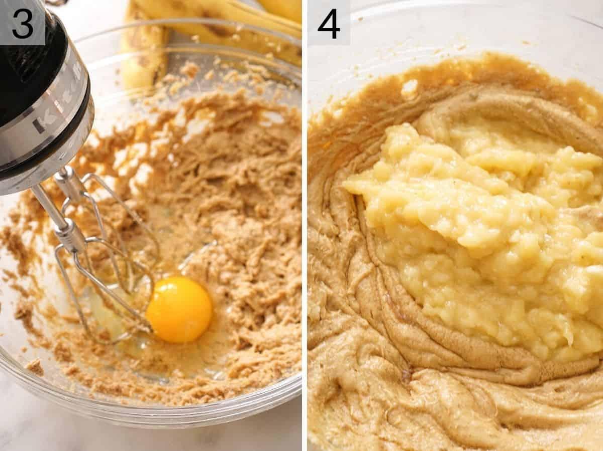 Egg and banana getting mixed into a banana bread batter