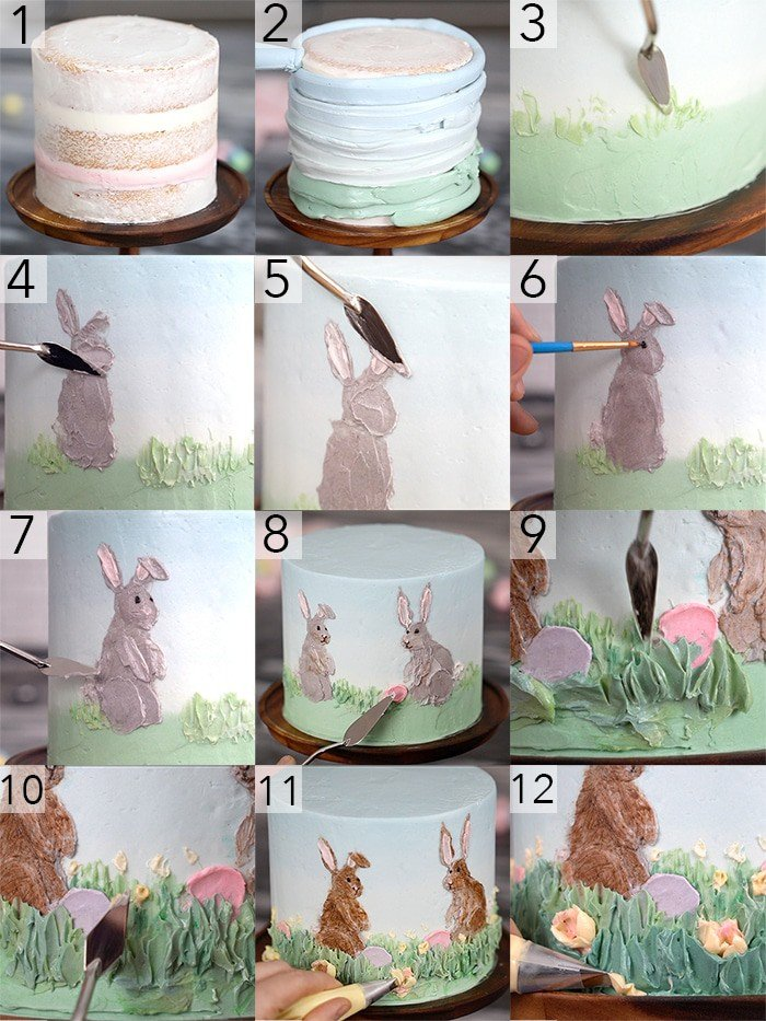 A photo collage showing the steps to create this Easter bunny cake.
