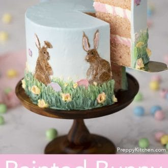 hand painted buttercream easter bunny cake