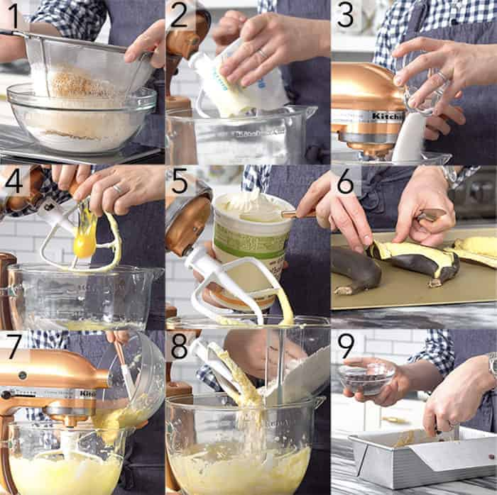 A photo showing steps on how to make a chocolate banana bread.