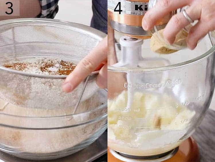 Butter and sugar getting beaten in a mixer.