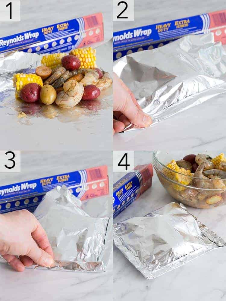 A photo collage showing the steps to make foil packets for the shrimp boil