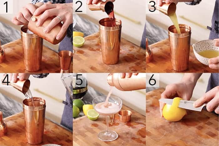 A photo showing steps on how to make a French martini.