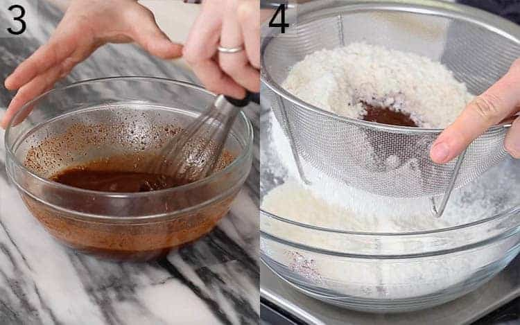 Two photos showing chocolate melting and dry ingredients getting sifted