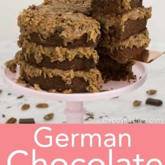 three layer german chocolate cake on a cake stand