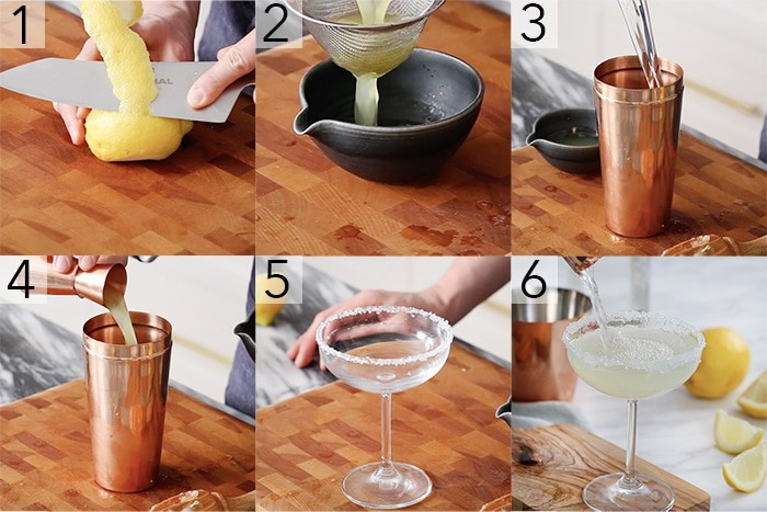 A photo showing steps on how to make a lemon drop martini.