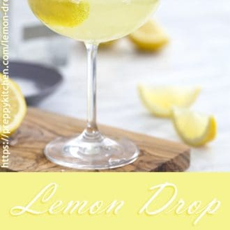 A photo of a lemon drop martini in a coupe glass.